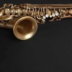 Saxophone jazz instruments. Alto sax closeup