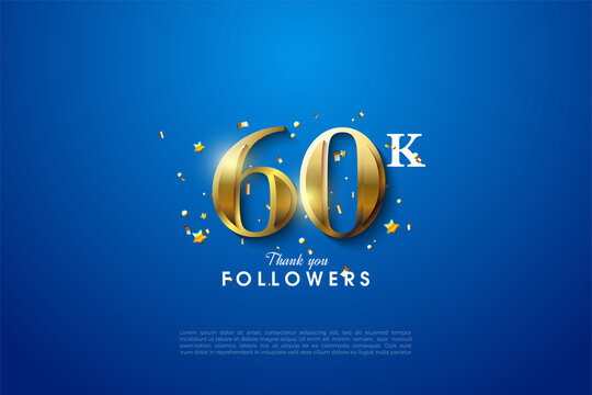 60k followers with glowing golden number illustration on solid blue background.