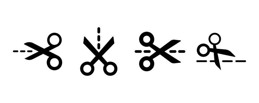 Scissors icon set. Vector graphic illustration. Suitable for website design, logo, app, template, and ui.
