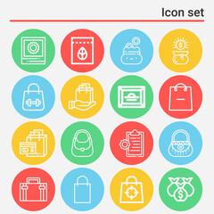 Fototapeta 16 pack of pocket  lineal web icons set obraz