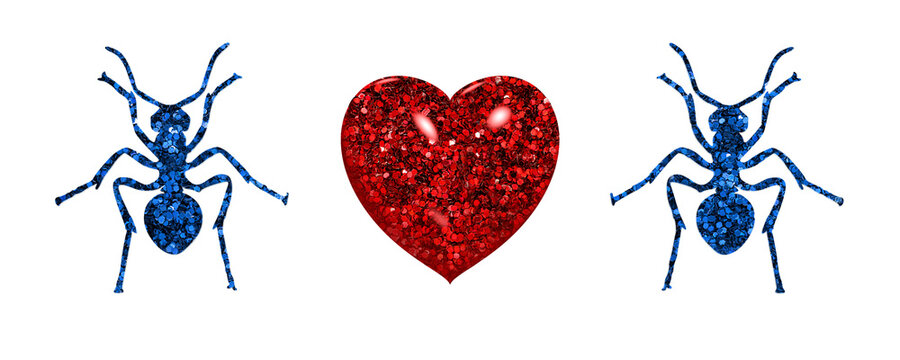 Ant Animal Blue symbols with red heart valentine day icon, 3d illustration