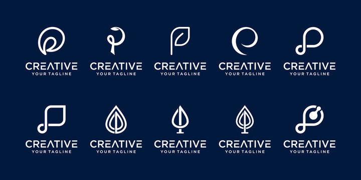 Set of abstract initial letter P logo template. icons for business of nature, organic