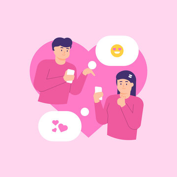 a concept of online dating, matchmaking, virtual dating. illustration of a male and female couple chatting with each other using a smartphone. symbol of love and affection. flat style. vector design