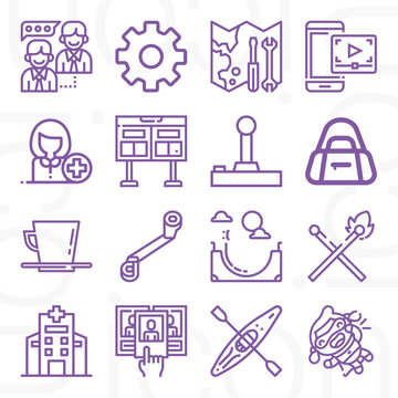 16 pack of team  lineal web icons set