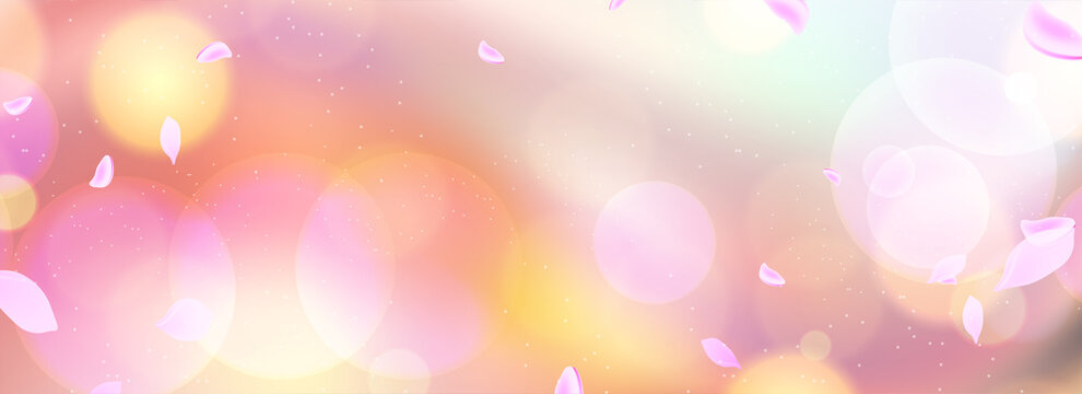 桜の花びらが舞う春を感じる背景、春の広告やイベント、バナーデザイン、セールチラシ