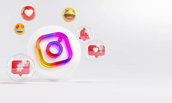 Instagram Acrylic Glass Logo and Social Media Icons Copy Space 3D