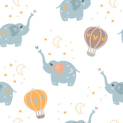 Baby seamless pattern with cute elephants.