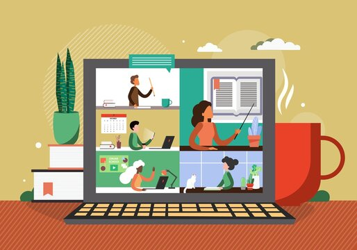 Online class in zoom teleconference. Virtual school education concept vector illustration. Students with laptops listen teacher online. Remote class