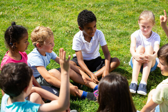Group of elementary school children chatting on the green lawn. High quality photo