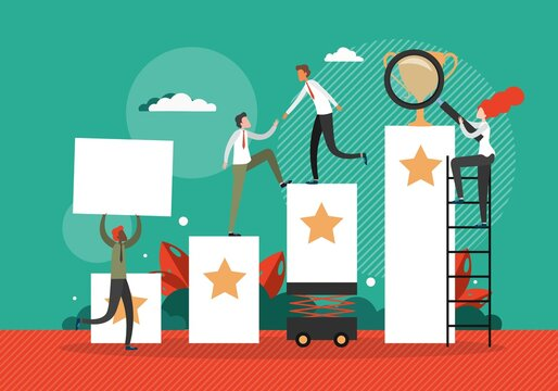 Business team help each other to climb up the stairs to the goal in the form of winner cup. Career progress and development concept vector illustration. Leadership in business, growth and success