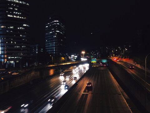Long Exposure Night Shot of Traffic on I-5 Freeway in Seattle, Washington