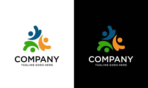 Unity Three Logo Design Illustration. Team of three people logo. Concept of people group meeting collaboration and great work.