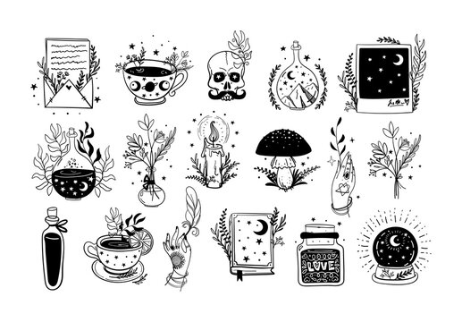 Collection of modern boho tattoos for witch, amulets. Vintage stickers with ritual objects and plants, linear hand drawing. Vector illustration isolated on white background