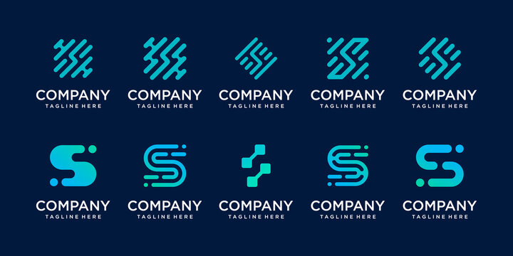 Set of collection initial letter S SS logo template. icons for business of fashion, sport, automotive, technology digital.