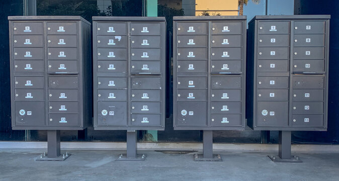 Mailboxes at office building.