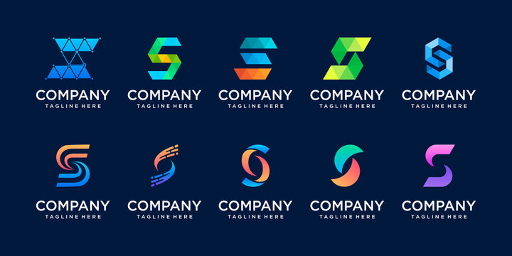 Set of collection initial letter S SS logo template. icons for business of fashion, digital, technology etc.