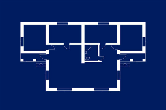 Floor plan of a modern apartment. Vector blueprint for your design. Architectural background.