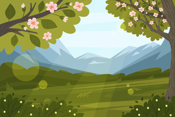 Spring landscape scene Vector illustration.