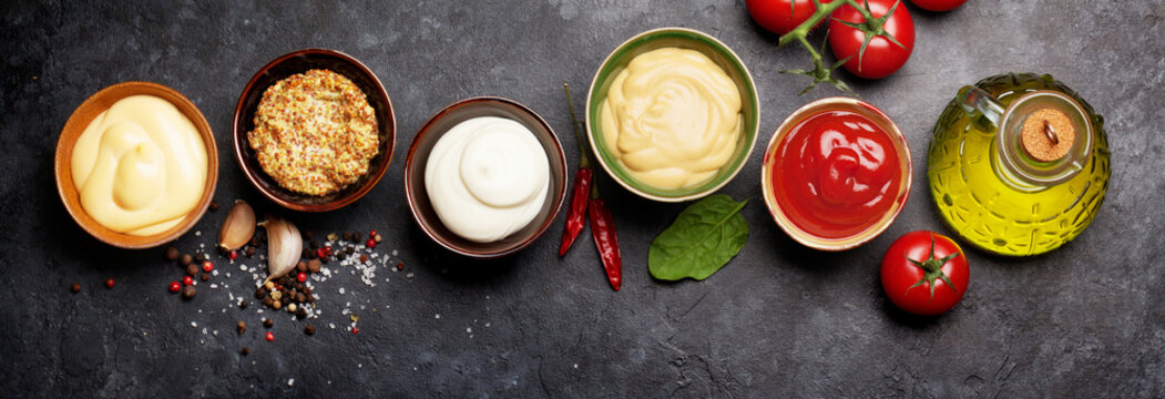 Set of various sauces. Popular sauces in bowls