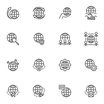 Global business line icons set, outline vector symbol collection, linear style pictogram pack. Sign logo illustration. Set includes icons - outsourcing, deal agreement, business strategy, world travel