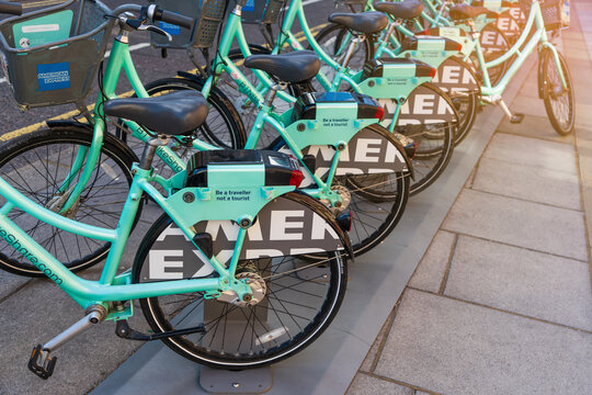 Brighton, England-1 October,2018:   BTN Bike share offers Brighton & Hove residents and visitors, UK. BTN bicycle BikeShare Center.