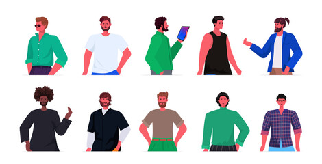 Wall Mural - set mix race young men in casual trendy clothes male cartoon characters avatars collection portrait horizontal vector illustration