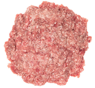 Raw minced meat isolated on white background. Chopped meat background.  fresh raw ground pork heap. Top view.
