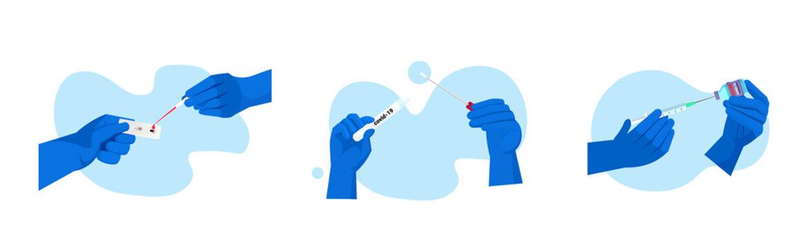 set doctors or scientists hands holding covid-19 nasal swab laboratory test coronavirus pandemic concept horizontal vector illustration