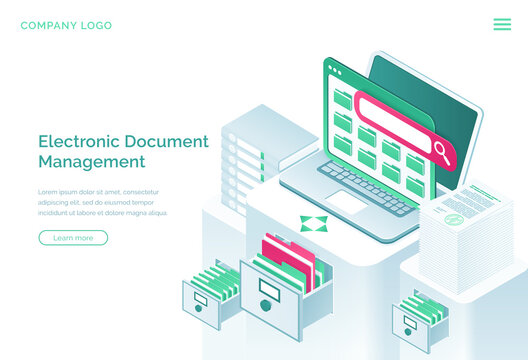 Electronic documents management isometric landing page, paperwork organization concept with laptop, office cabinet with drawers and files. Business administration, data storage, 3d vector web banner