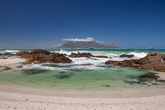 table mountain in cape town south africa scenic view from blouberg in summer with blue sky