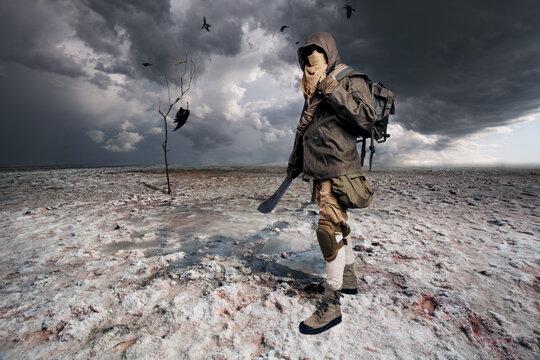 Post apocalyptic warrior standing in the salt desert.