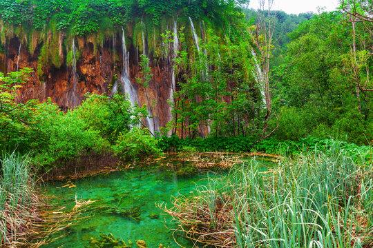 beautiful waterfalls in Plitvice Lakes National Park, Croatia