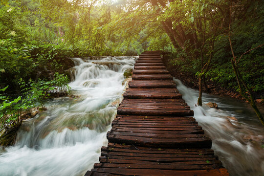 Touristic wooden pathway for nature trekking in Plitvice Lakes National Park, Croatia. Rainy day..