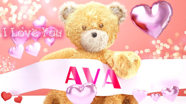 I love you Ava - cute and sweet teddy bear on a wedding, Valentine's or just to say I love you pink celebration card, joyful, happy party style with glitter and red and pink hearts, 3d illustration