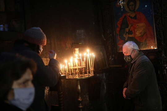 Worshippers attend a religious mass in Blagoevgrad