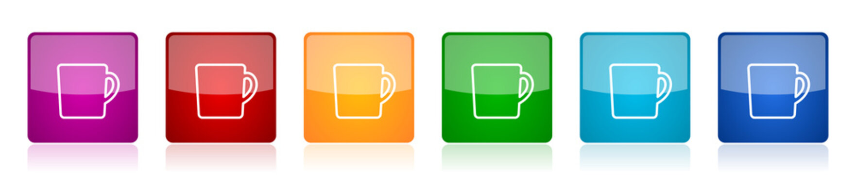 Drink, cup of coffee icon set, square glossy vector buttons in 6 colors options for webdesign and mobile applications