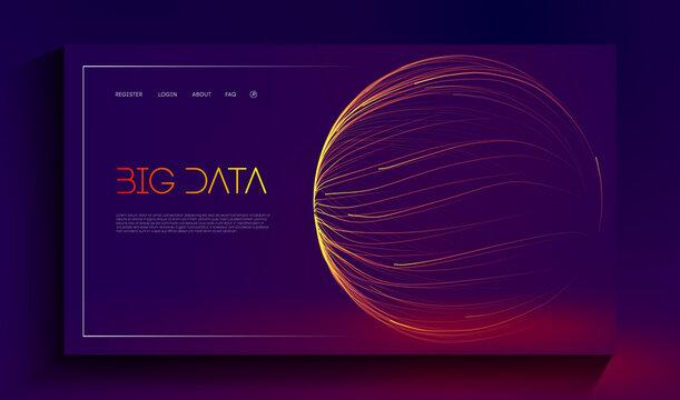 Abstract purple big data visualisation on dark blue background. Business data structure analysis. Digital data stream visualization. Vector 3d lines energy flow illustration.