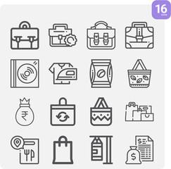 Fototapeta Simple set of metallic element related lineal icons. obraz