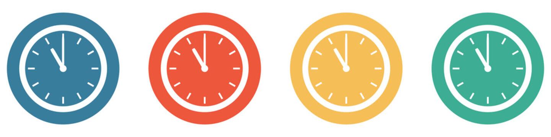 Bunter Banner mit 4 Buttons: Uhr um 11 Uhr