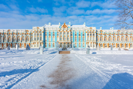 Catherine palace and park in winter, Tsarskoe Selo (Pushkin), Saint Petersburg, Russia