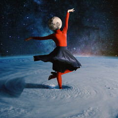 Woman dancing in outer space headed by planet. Collage with cosmos and astronomy theme. Negative...