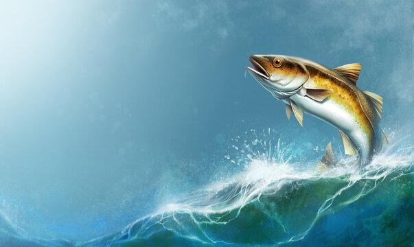 Alaska Pollock, Mintai fish jumping out of water illustration isolate realistic. Mintai fish on the background of the waves of the open ocean.