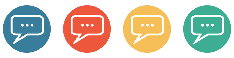 Bunter Banner mit 4 Buttons: Sprechblase