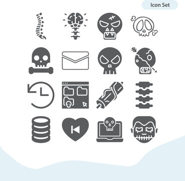 Simple set of axial skeleton related filled icons.