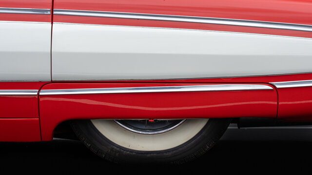 BOSSCHENHOOFS, NETHERLANDS - Feb 06, 2021: Side view of a classic american car from the fifties.