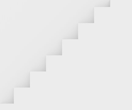 Straight stairs near white wall with copyspace. White wall background with white stairway, 3D render