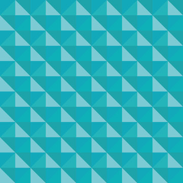 Vector 3D pyramid shaped stud seamless pattern background. Elegant studded backdrop with shaded triangles. Monochrome aqua blue repeat. Modern tactile texture design. Geometric all over print