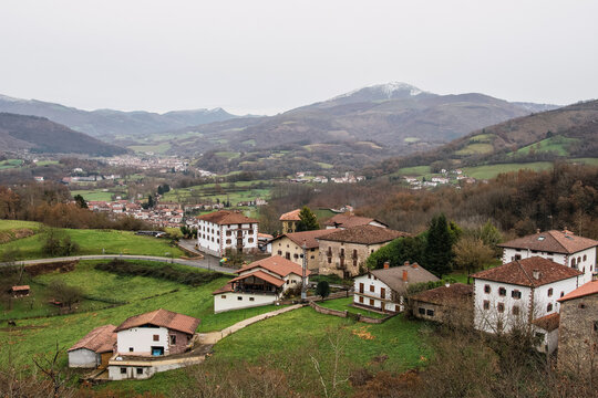 View of the town of Zugarramurdi, in Navarra, in a landscape surrounded by mountains. Witch village.
