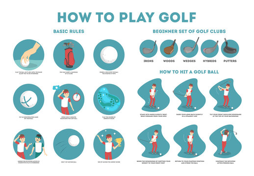 How to play golf guide for beginners. Basic rules and set of golf club. Man player on the field with ball. Golf lesson. Flat vector illustration