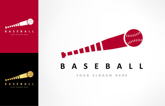 Baseball bat and ball logo vector. Sport design.